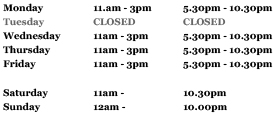 cafe east opening hours